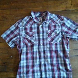 Men's Levi's Western Plaid Shirt Sz Large A25